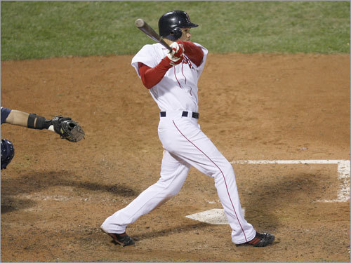 On the 10th pitch of his at bat, Red Sox center fielder Coco Crisp stroked a two-out single that scored Kotsay with the tying run.