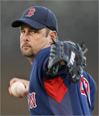 Sox starter Tim Wakefield winds up for a warmup pitch before the game.