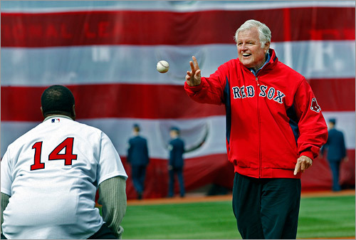 Senator Edward M. Kennedy threw the first ceremonial pitch to Hall of Famer Jim Rice.