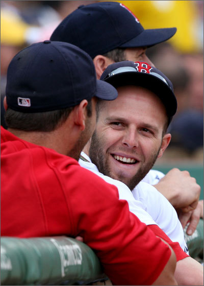 Dustin Pedroia enjoyed a rare day off in the dugout.