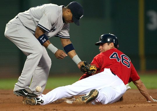 Ellsbury stole second base in the first inning to tie Tommy Harper's Red Sox record of 54 stolen bases in a season, as the ball bounced in front of Robinson Cano.