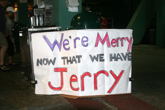 At the end of the night, about the only thing left standing at Fenway was this sign welcoming back broadcaster Jerry Remy.