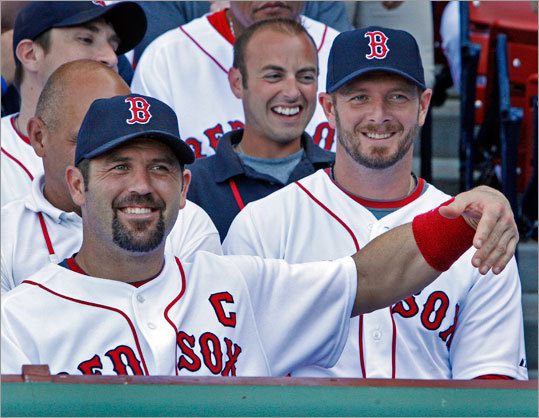 Catcher Jason Varitek had a little fun during Thursday's annual Red Sox team photograph.