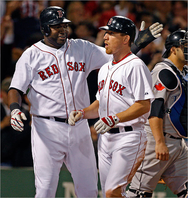 J.D. Drew was welcomed at the plate by David Ortiz after his three-run home run cut the Toronto lead to 8-7 in the eighth inning.