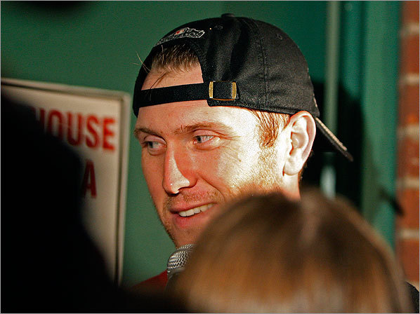 Red Sox slugger Jason Bay also made an appearance after the celebration in the clubhouse.