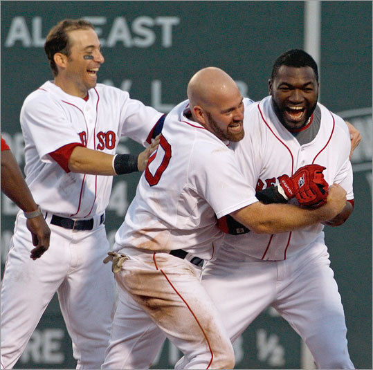 David Ortiz stroked a three-run double in  the bottom of the ninth inning to give the Red Sox a walk-off victory.  The Tigers walked Kevin Youklis to load the bases before Big Papi  cranked one to the base of the Green Monster.