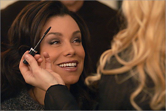 Gretchen Monahan gets made up before appearing on the 'Rachael Ray' show in New York, where she is a style expert.