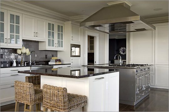 islands for the kitchen cabinet makeover kit boston com nicki bongiorno of spaces kennebunkport has two