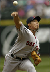 Daisuke Matsuzaka pitched eight innings of three-hit baseball, giving up just one run, but the Red Sox lost in 11 innings, 2-1, and get swept by the Mariners.