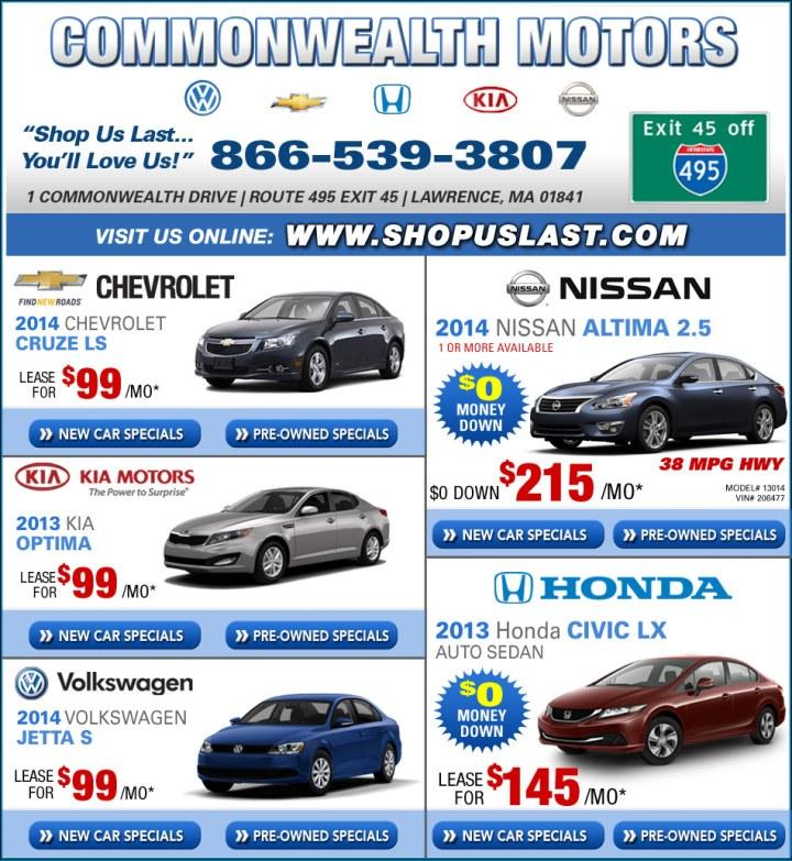 Boston Com Commonwealth Motors Chevy Honda Nissan Vw Kia Dealers