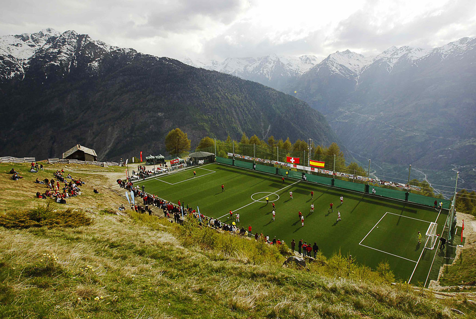 the football pitch in gspon, switzerland