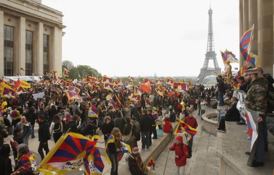 Paris Olympic torch relay protest