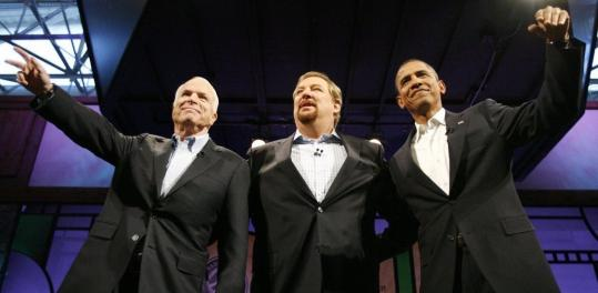 John McCain and Barack Obama discuss faith and politics in a forum hosted by Pastor Rick Warren (center) Saturday night (