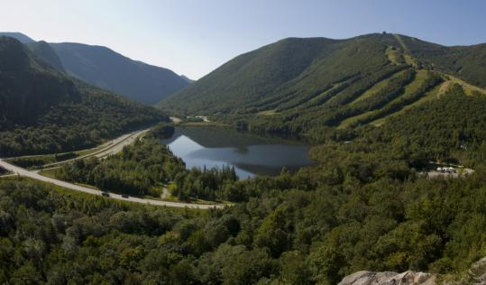 In New Hampshire, Franconia Notch State Park presents a startlingly beautiful panorama.