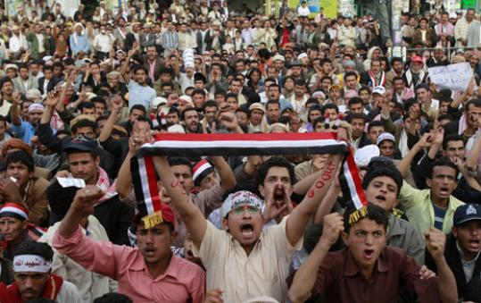 Protesters at Sanaa University participated in a sit-in to demand the end of President Ali Abdullah Saleh's 32-year rule.