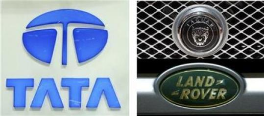 A combo of pictures shows the logos of carmakers Tata Motors of India (L), Jaguar (top R) and Land Rover (bottom R) during the first media day of the 78th Geneva Car Show March 4, 2008. Tata Motors Ltd was tight-lipped on Tuesday as speculation mounted that Ford Motor Co was set to announce this week the sale of its luxury brands Jaguar and Land Rover to the Indian firm.