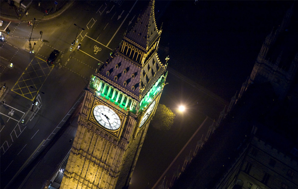 Big Ben, above the Houses of Parliament. (© Jason Hawkes)