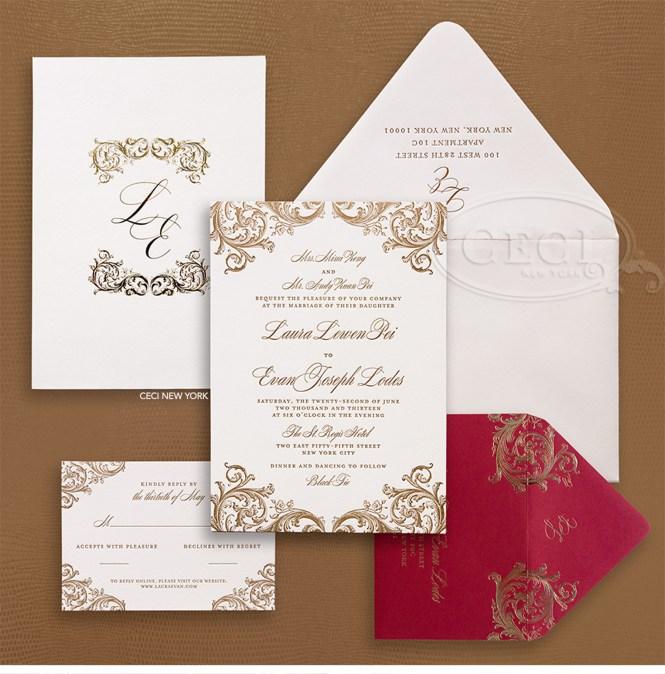 Elegant Gold Damask With Red Hearts Fall Wedding Invitation Ewi053