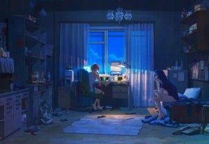anime night aesthetic desktop dark background window beat project soundcloud wallpapers computer scenery lofi lo fi japanese table rain arsenixc