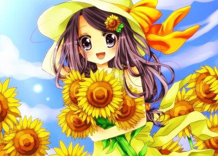 Cute Long Hair Girl Wallpaper Sunflower Other Amp Anime Background Wallpapers On Desktop