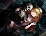 skeleton - & anime background