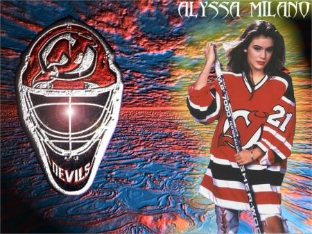 alyssa milano hockey poster