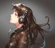 headphones - & anime background