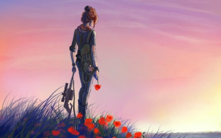 Sad Girl Standing Alone Wallpapers Soldier Girl Other Amp Anime Background Wallpapers On