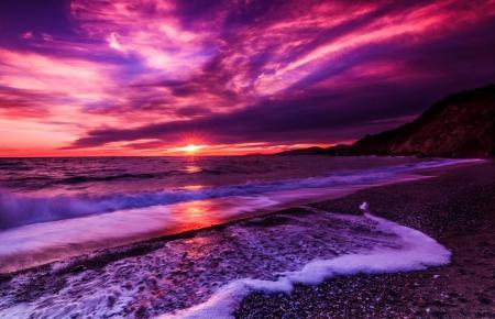 purple sunset - sunsets & nature