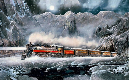 Snow Train F2 Winter Nature Background Wallpapers on