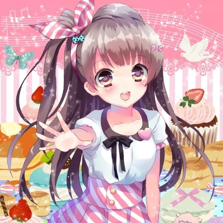 Anime Wallpaper Kawaii Girls Hair Brown Eyes Blue Gray Smile Other Amp Anime Background Wallpapers On Desktop