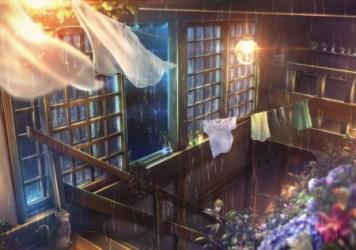 anime rain window room pixiv zerochan raining background night hd rainy scenery light stairs scene realistic