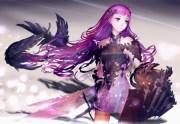 purple armor - & anime background