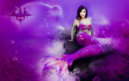 Pretty Girl Wallpaper Download Purple Mermaid Fantasy Amp Abstract Background Wallpapers