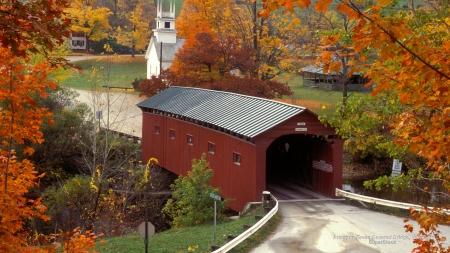 New Hampshire Fall Foliage Wallpaper Covered Bridge In Vermont Town Bridges Amp Architecture
