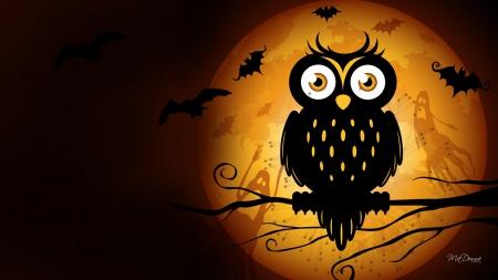 Cute Fall Owls Hd Wallpaper Halloween Owl Moon Birds Amp Animals Background Wallpapers