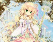 pink rose - & anime background