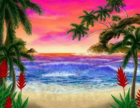 colorful beach - beaches & nature