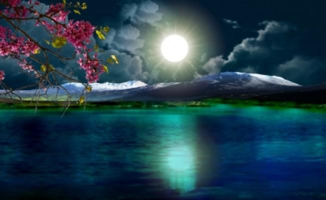 Beautiful Night Lakes Nature Background Wallpapers