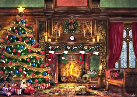 cozy christmas room - & abstract