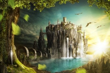 fantasy castle abstract desktop wallpapers 3d background trees cg nexus waterfalls