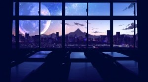 anime scenery background backgrounds wallpapers night classroom desktop japanese japan yande re landscape smile fantasy moon sky animation respond edit