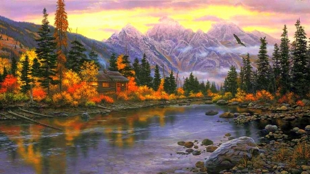 Panoramic Wallpaper Fall Mountains Horizon Rivers Amp Nature Background Wallpapers
