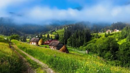 mountain village in spring