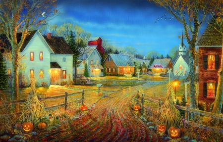 Pumpkins And Fall Leaves Wallpaper A Country Town In Autumn Houses Amp Architecture