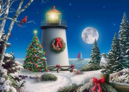 Christmas Lighthouse Winter Amp Nature Background