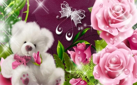 Beautiful Cute Roses Wallpapers Teddy Bear And Roses Flowers Amp Nature Background