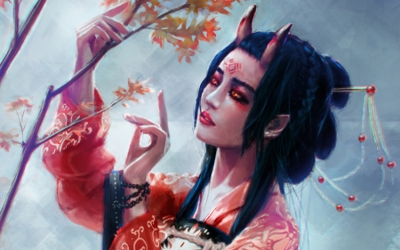 Japanese Girl Kimono Wallpaper Demoness Fantasy Amp Abstract Background Wallpapers On