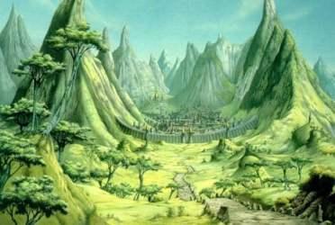 rodney matthews village mountain fantasy 3d crystal background artist realms series cg cr desktopnexus wallpapers