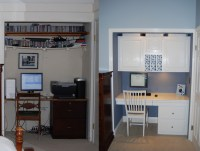 White And Blue: An Office-in-a-Closet Makeover ...